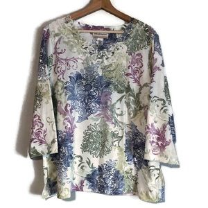 Alfred Dunner floral and lace popover blouse 1X